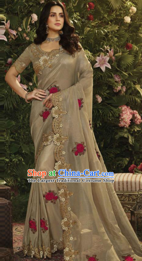 Asian Indian Court Princess Khaki Embroidered Satin Sari Dress India Traditional Bollywood Costumes for Women