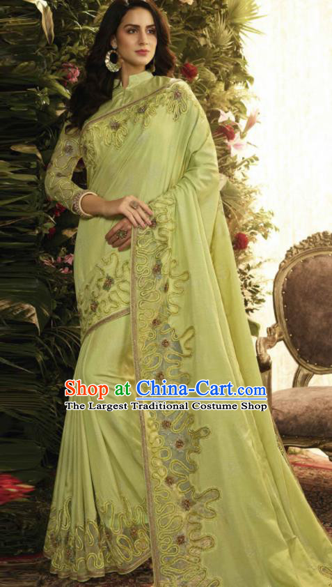 Asian Indian Court Princess Green Embroidered Satin Sari Dress India Traditional Bollywood Costumes for Women