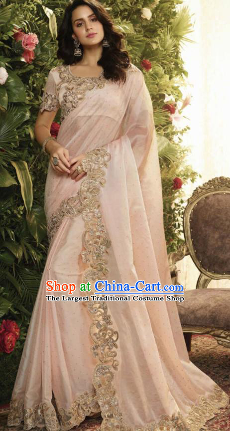 Asian Indian Court Princess Light Pink Embroidered Satin Sari Dress India Traditional Bollywood Costumes for Women