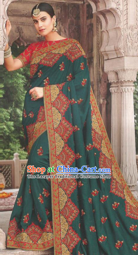 Asian Indian Court Atrovirens Art Silk Embroidered Sari Dress India Traditional Bollywood Princess Costumes for Women