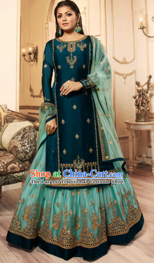 Asian India Traditional Lehenga Choli Costumes Indian Bollywood Embroidered Peacock Blue Skirt and Blouse for Women