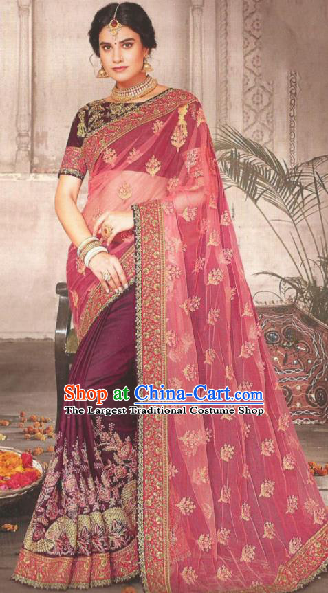 Asian Indian Court Purple Art Silk Embroidered Sari Dress India Traditional Bollywood Princess Costumes for Women