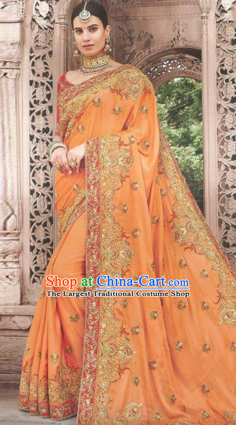Asian Indian Court Orange Art Silk Embroidered Sari Dress India Traditional Bollywood Princess Costumes for Women