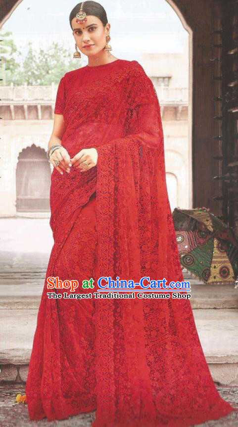 Asian Indian Court Red Art Silk Embroidered Sari Dress India Traditional Bollywood Princess Costumes for Women