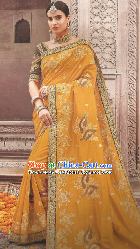 Asian Indian Court Ginger Art Silk Embroidered Sari Dress India Traditional Bollywood Princess Costumes for Women