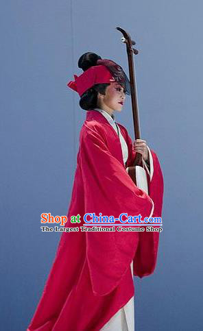 The Legend of Chunqin Shaoxing Opera Japan Geisha Red Kimono Dress Stage Performance Costume and Headpiece for Women