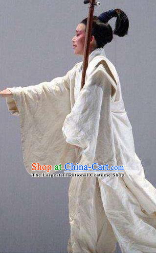 The Legend of Chunqin Shaoxing Opera White Kimono Clothing Stage Performance Dance Costume for Men