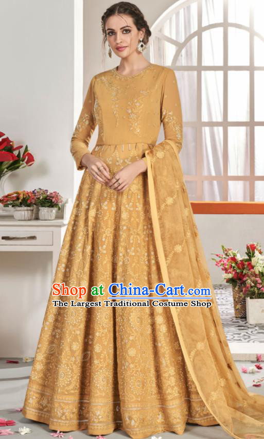 Asian Indian National Lehenga Bollywood Ginger Georgette Embroidered Dress India Traditional Costumes for Women