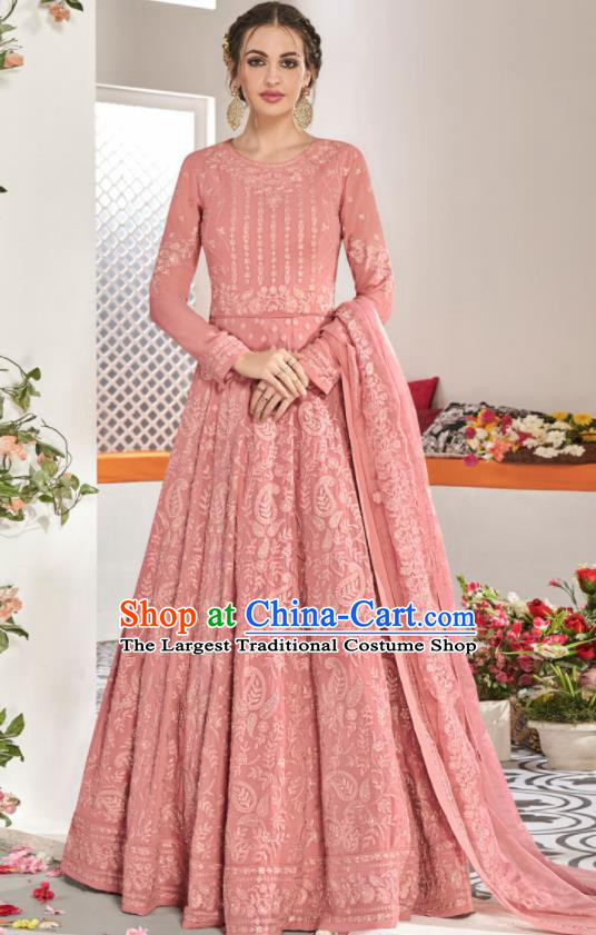 Asian Indian National Lehenga Bollywood Pink Georgette Embroidered Dress India Traditional Costumes for Women
