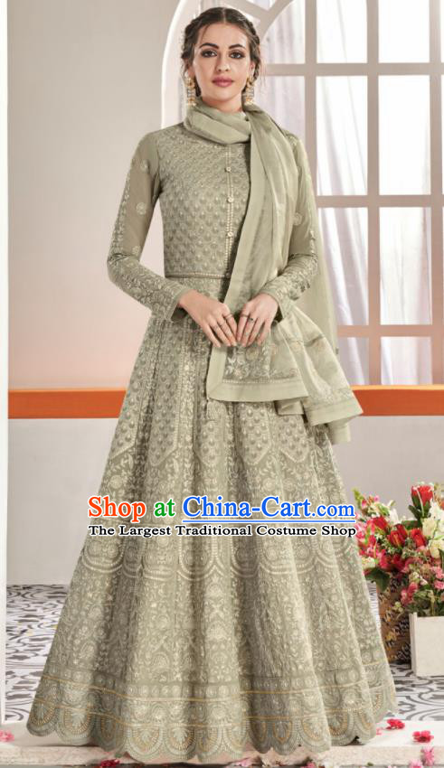 Asian Indian National Lehenga Bollywood Grey Georgette Embroidered Dress India Traditional Costumes for Women