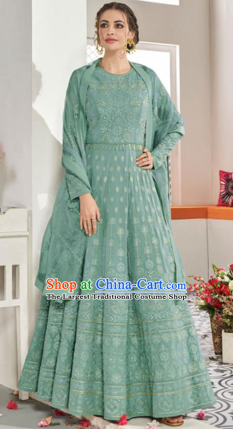 Asian Indian National Lehenga Bollywood Green Georgette Embroidered Dress India Traditional Costumes for Women