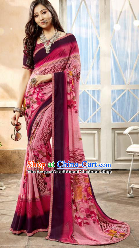 Asian Indian National Lehenga Printing Pink Georgette Sari Dress India Bollywood Traditional Costumes for Women