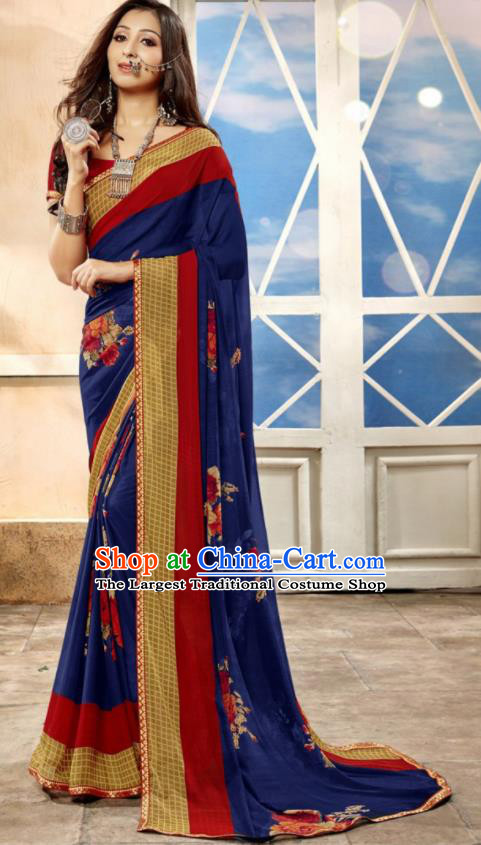 Asian Indian National Lehenga Printing Royalblue Georgette Sari Dress India Bollywood Traditional Costumes for Women