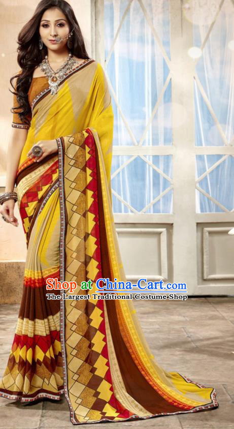 Asian Indian National Lehenga Printing Yellow Georgette Sari Dress India Bollywood Traditional Costumes for Women