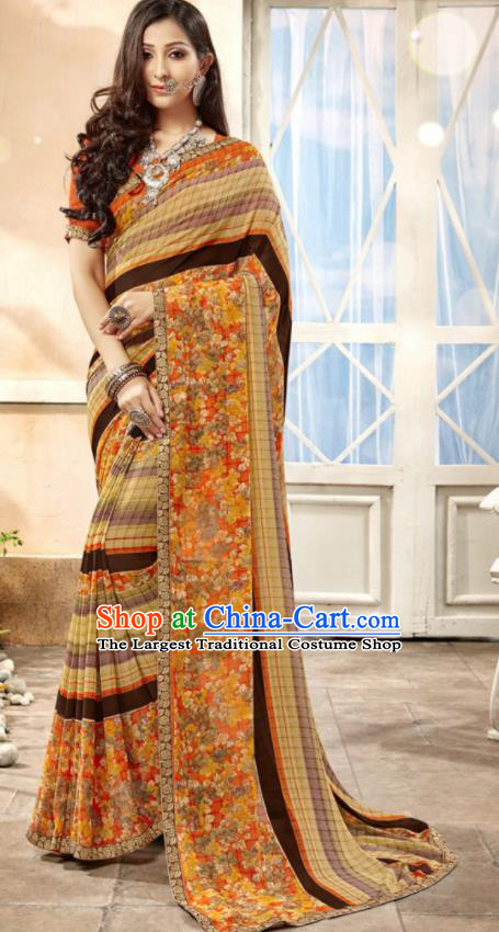 Asian Indian National Lehenga Printing Ginger Georgette Sari Dress India Bollywood Traditional Costumes for Women