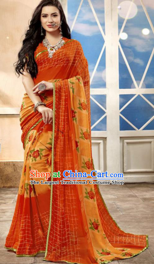 Asian Indian National Lehenga Printing Orange Georgette Sari Dress India Bollywood Traditional Costumes for Women