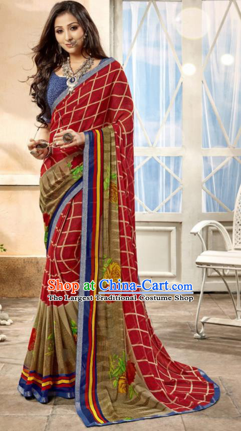 Asian Indian National Lehenga Printing Purplish Red Georgette Sari Dress India Bollywood Traditional Costumes for Women