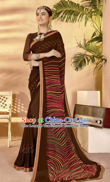Deep Brown Georgette Asian Indian National Lehenga Printing Sari Dress India Bollywood Traditional Costumes for Women