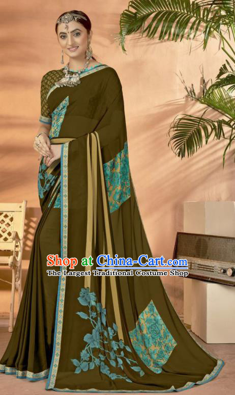 Olive Green Georgette Asian Indian National Lehenga Printing Sari Dress India Bollywood Traditional Costumes for Women