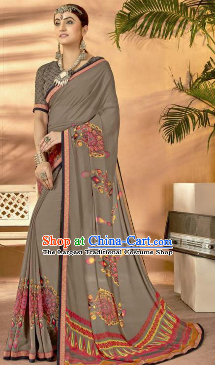 Grey Georgette Asian Indian National Lehenga Printing Sari Dress India Bollywood Traditional Costumes for Women