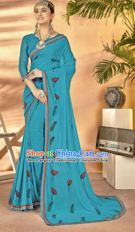 Blue Georgette Asian Indian National Lehenga Printing Sari Dress India Bollywood Traditional Costumes for Women