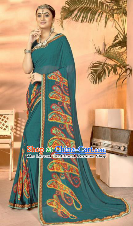Peacock Green Georgette Asian Indian National Lehenga Printing Sari Dress India Bollywood Traditional Costumes for Women