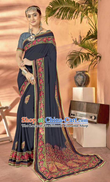 Navy Georgette Asian Indian National Lehenga Printing Sari Dress India Bollywood Traditional Costumes for Women