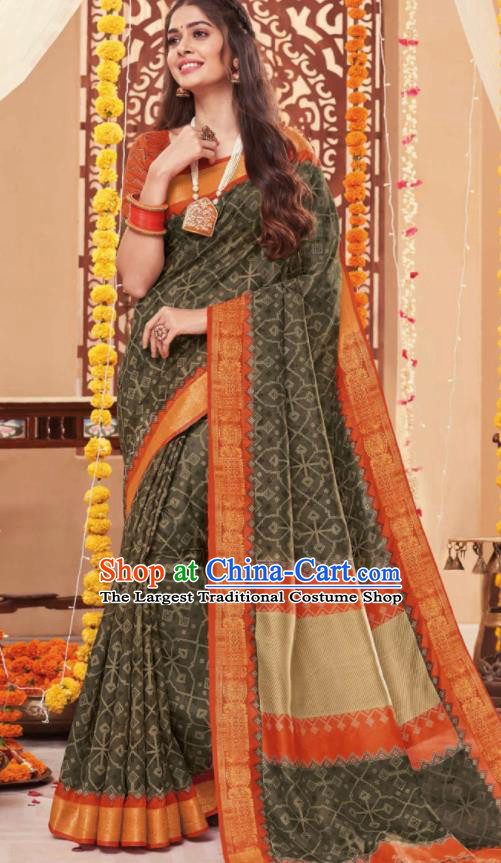 Asian Traditional Indian National Grey Black Cotton Sari Dress India Lehenga Bollywood Costumes for Women