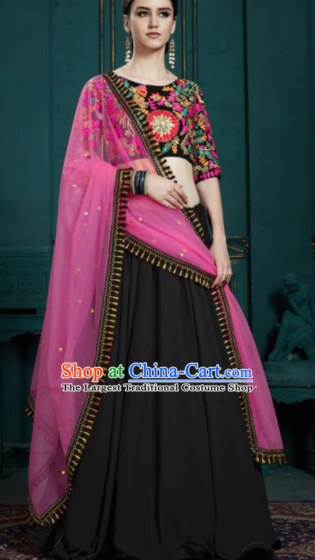 Indian Traditional Lehenga Embroidered Black Dress Asian India National Festival Costumes for Women