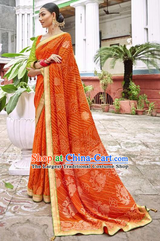 Indian Traditional Court Printing Orange Georgette Sari Dress Asian India National Festival Costumes for Women