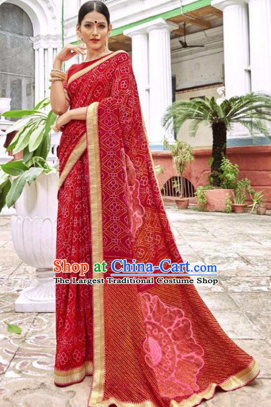 Indian Traditional Court Printing Dark Red Georgette Sari Dress Asian India National Festival Costumes for Women