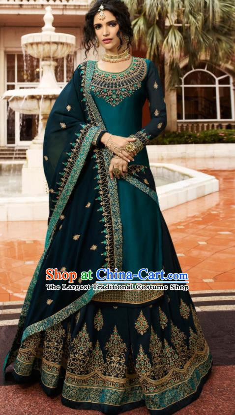Asian Indian Punjabis Peacock Green Satin Blouse and Skirt India Traditional Lehenga Choli Costumes Complete Set for Women