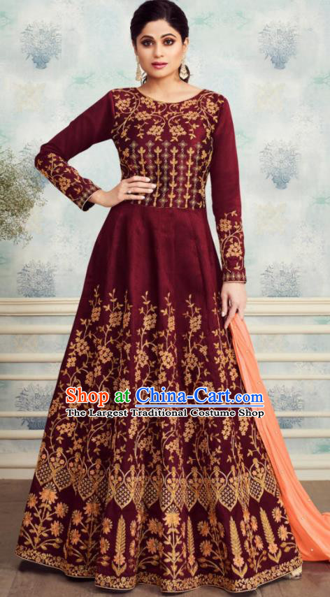 Indian Traditional Bollywood Court Wine Red Silk Anarkali Dress Asian India National Festival Costumes for Women
