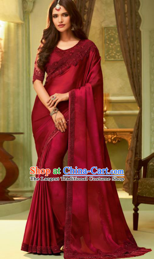 Indian Traditional Sari Bollywood Dark Red Silk Dress Asian India National Festival Costumes for Women