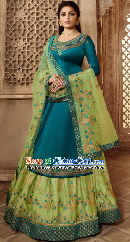 Asian Indian Embroidered Peacock Blue Satin Blouse and Green Skirt India Traditional Lehenga Choli Costumes Complete Set for Women