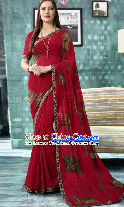 Indian Traditional Bollywood Printing Sari Dark Red Dress Asian India National Festival Costumes for Women