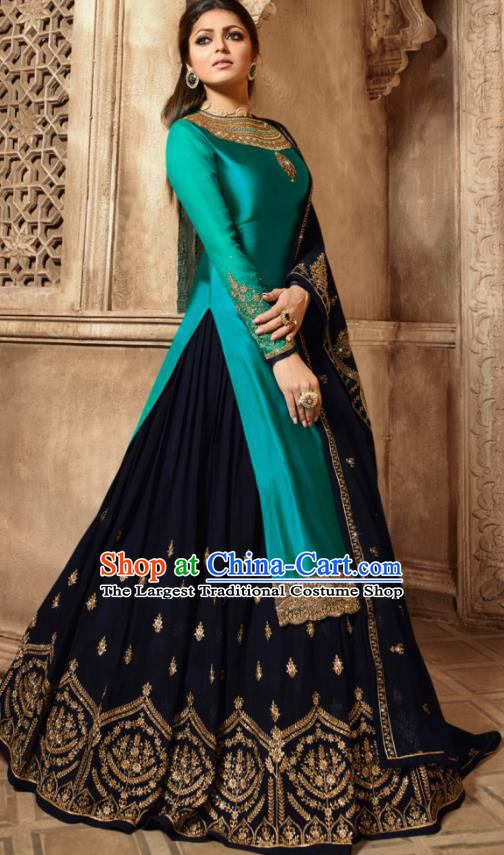 Asian Indian Embroidered Peacock Green Satin Blouse and Navy Skirt India Traditional Lehenga Choli Costumes Complete Set for Women
