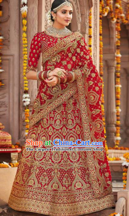 Indian Traditional Court Wedding Bride Lehenga Red Embroidered Dress Asian India National Bollywood Costumes for Women