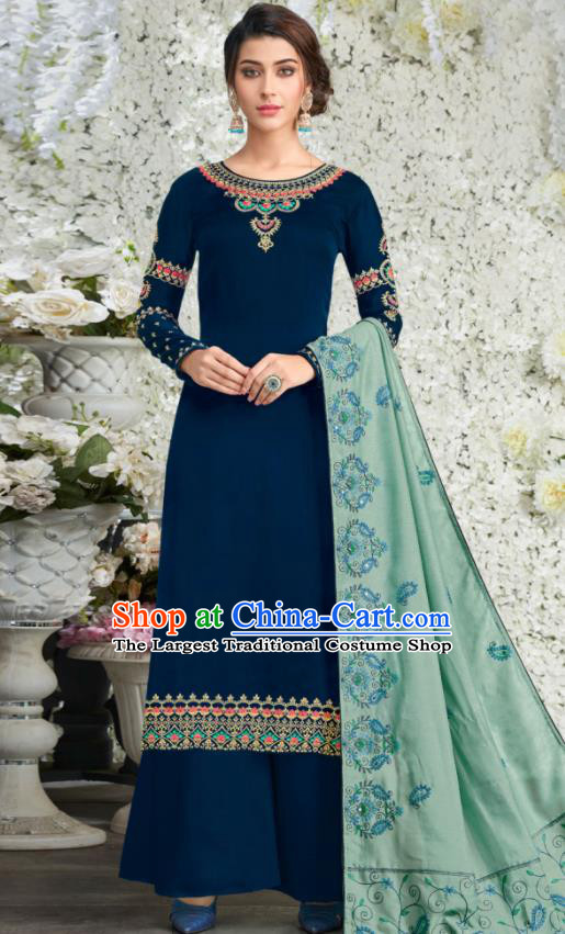 Traditional Indian Lehenga Embroidered Deep Blue Blouse and Pants Asian India Punjab National Costumes for Women