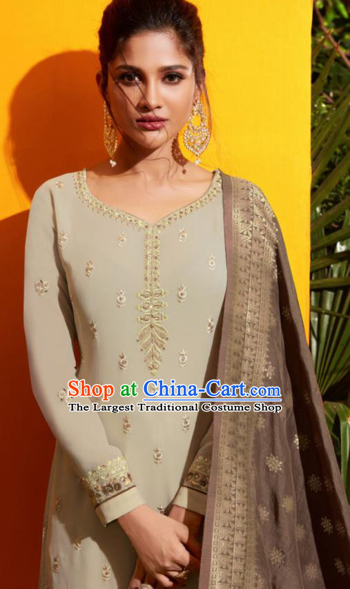 Traditional Indian Lehenga Embroidered Grey Georgette Blouse and Pants Asian India Punjab National Costumes for Women