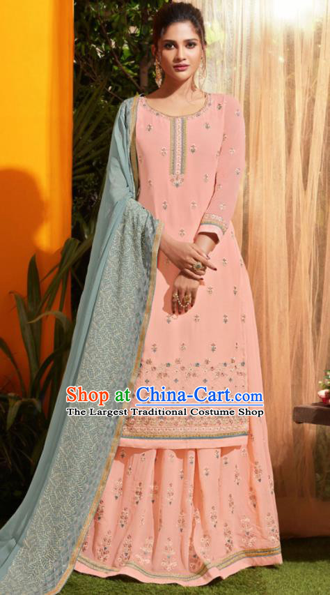 Traditional Indian Lehenga Embroidered Pink Georgette Blouse and Pants Asian India Punjab National Costumes for Women
