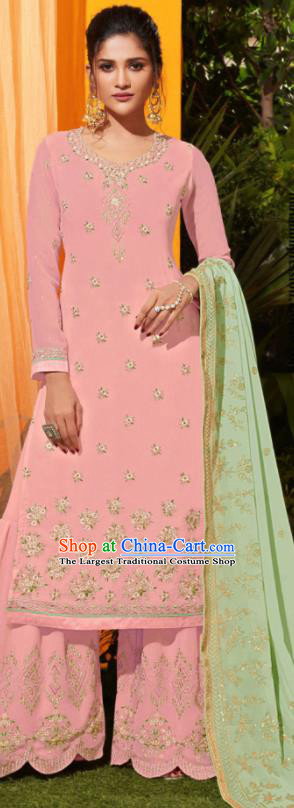Traditional Indian Lehenga Embroidered Light Pink Georgette Blouse and Pants Asian India Punjab National Costumes for Women
