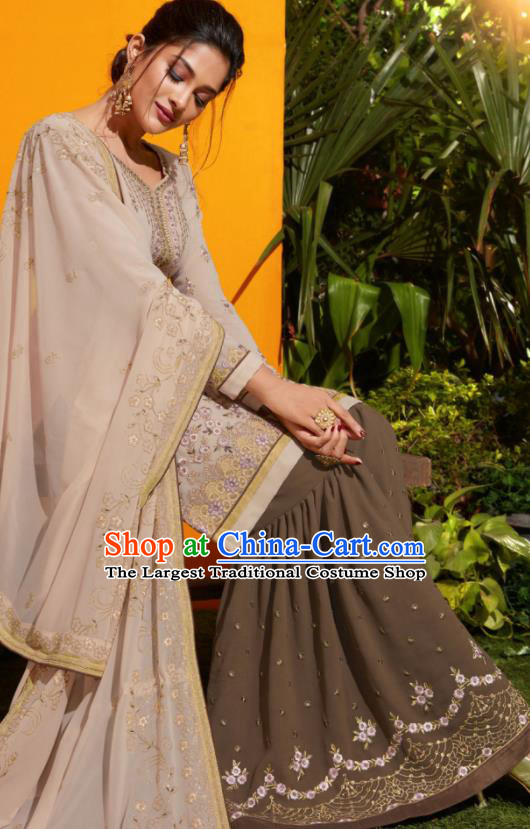 Traditional Indian Lehenga Embroidered Apricot Georgette Blouse and Pants Asian India Punjab National Costumes for Women