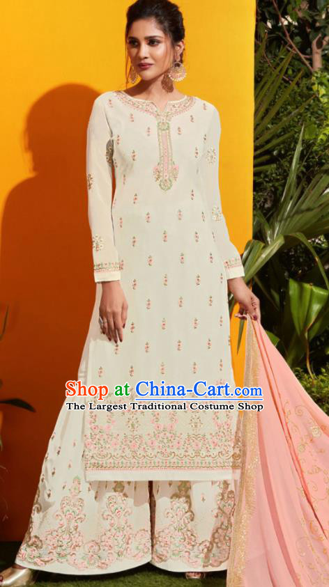 Traditional Indian Lehenga Embroidered White Georgette Blouse and Pants Asian India Punjab National Costumes for Women