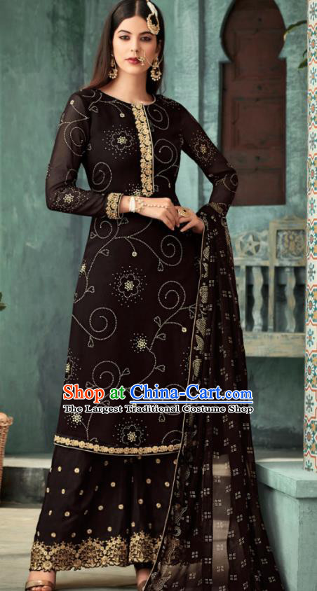 Traditional Indian Punjab Lehenga Embroidered Black Georgette Blouse and Pants Asian India National Costumes for Women