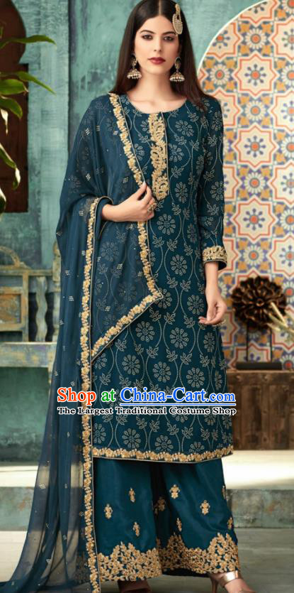 Traditional Indian Punjab Lehenga Embroidered Deep Blue Georgette Blouse and Pants Asian India National Costumes for Women