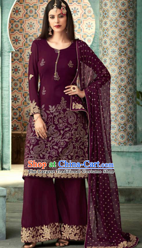 Traditional Indian Punjab Lehenga Embroidered Purple Georgette Blouse and Pants Asian India National Costumes for Women