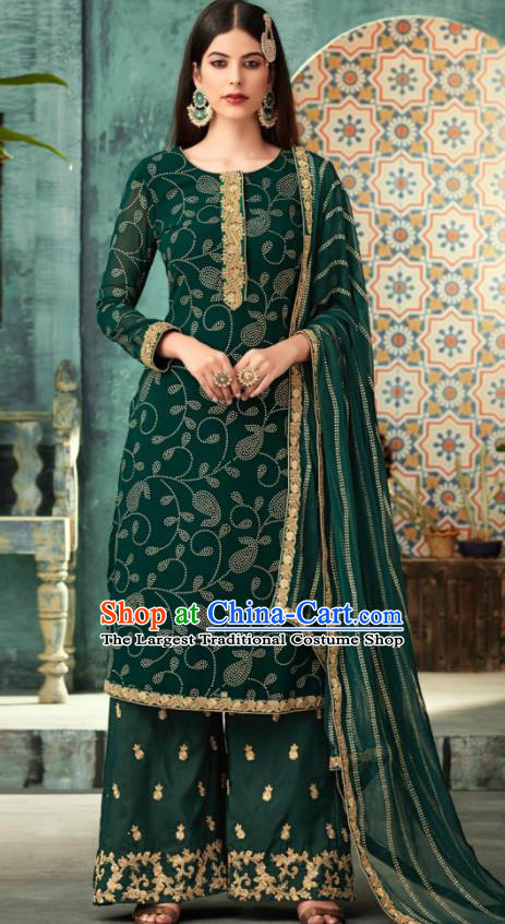 Traditional Indian Punjab Lehenga Embroidered Green Georgette Blouse and Pants Asian India National Costumes for Women