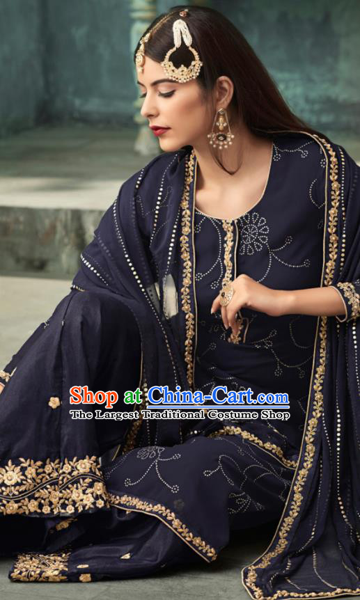 Traditional Indian Punjab Lehenga Embroidered Navy Georgette Blouse and Pants Asian India National Costumes for Women