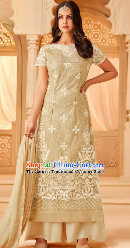 Traditional Indian Punjab Apricot Georgette Blouse and Pants Asian India National Costumes for Women